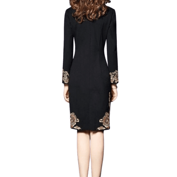 Autumn & Winter Black Embroidery Dress