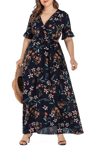 Floral Boho  Maxi Long Tunic Dress Plus Size