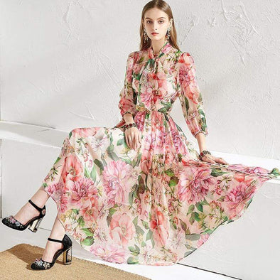 Lady Chiffon Runway Floral Dress