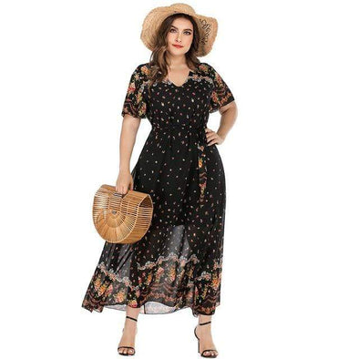 Plus Size  Boho Floral  Chiffon Dress
