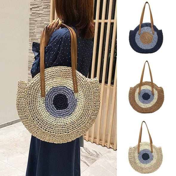 Circle Straw Tote Handbag