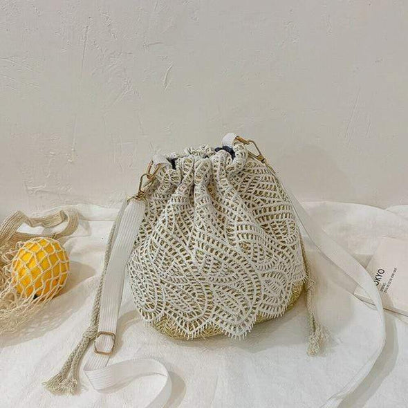 Fashion Lady Beach Bucket Straw Bag