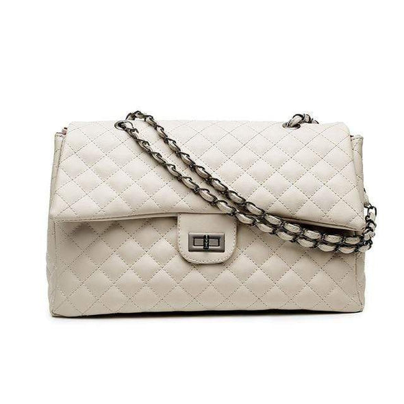White Letty Classic Diamond Lattice Luxury Handbag