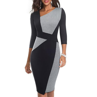 Retro Asymmetrical Collar Dress