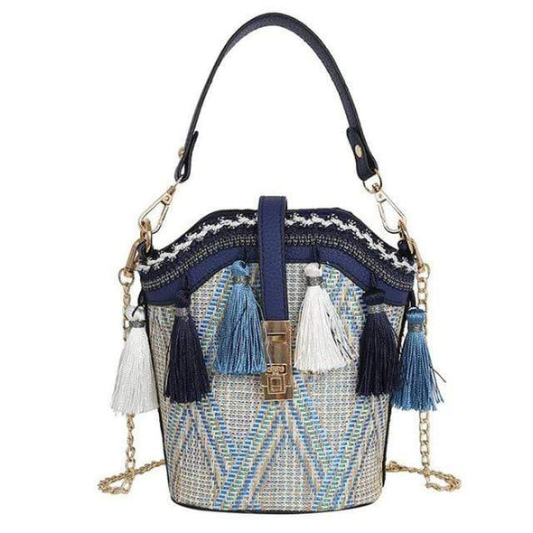 Bucket Shape Straw Beach Shoulder Bag