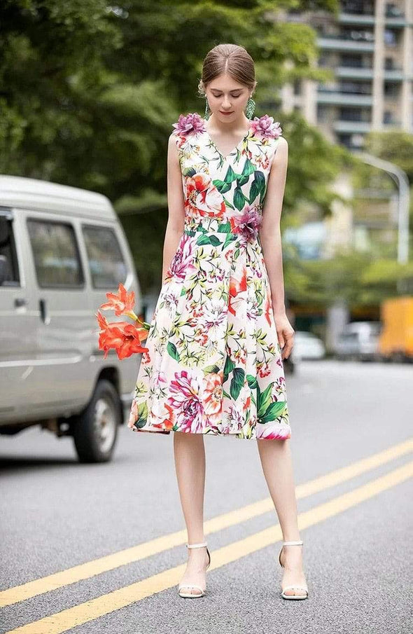 Summer Runway Sleeveless Chantal Flower Print