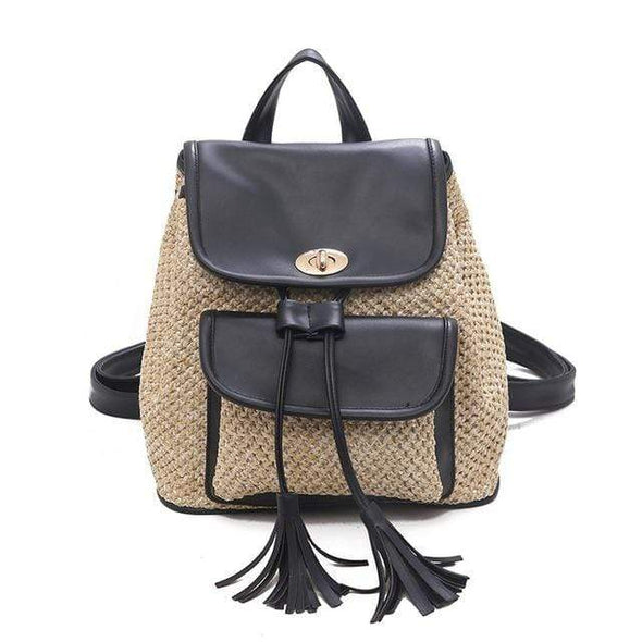 Boho Straw Backpack