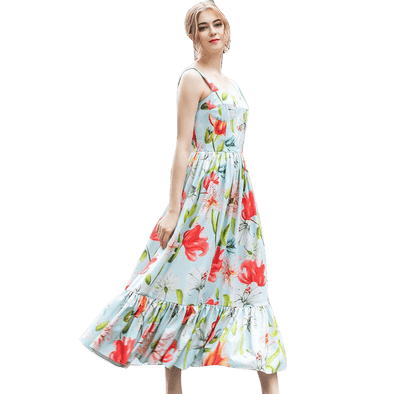 Elegant Runway Floral Summer Dress