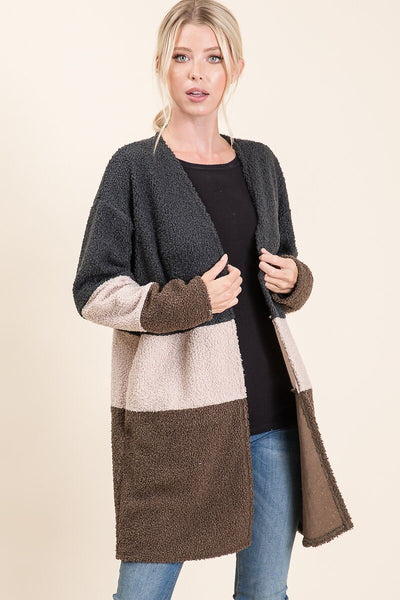 Long sleeve Color Cardigan with pockets - Charcoal/Cream/Mocha