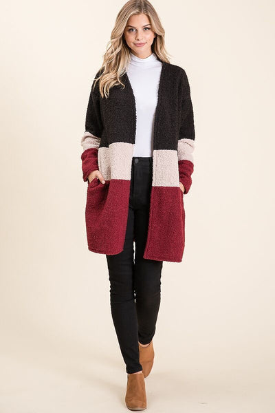 Long Sleeve Cardigan with Pockets -Black/Cream/Burgundy