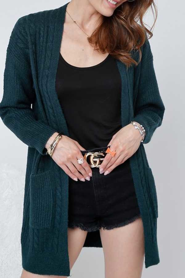 Solid Knit Cardigan with pockets - Hunter Green