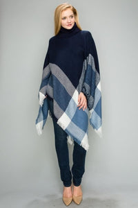 Turtle neck Poncho - Navy