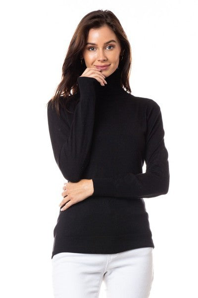 Knit Fitted Turtleneck top - Black