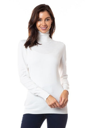 Knit Fitted Turtleneck top - White