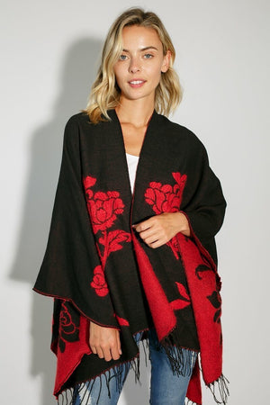 Flower Pattern Cape Poncho Shawl - Black/Red