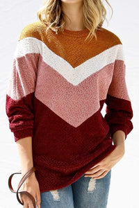 Chevron Striped Knit sweater - Burgundy