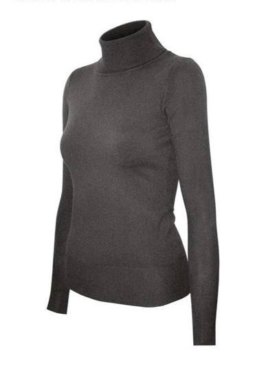 Knit Fitted Turtleneck top - Charcoal Gray