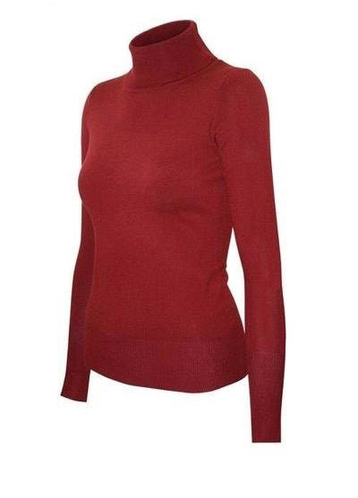 Knit Fitted Turtleneck top - Red
