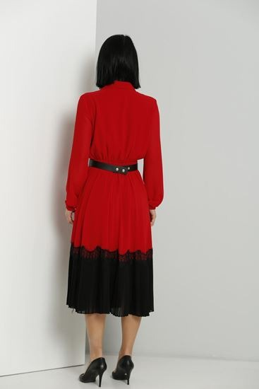 Red Midi Dress with belt