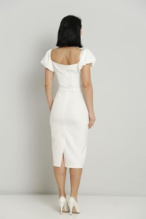 White Midi Dress with belt