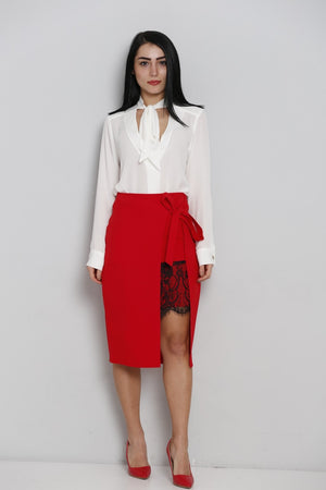 Red Asymmetrical Skirt with red lace