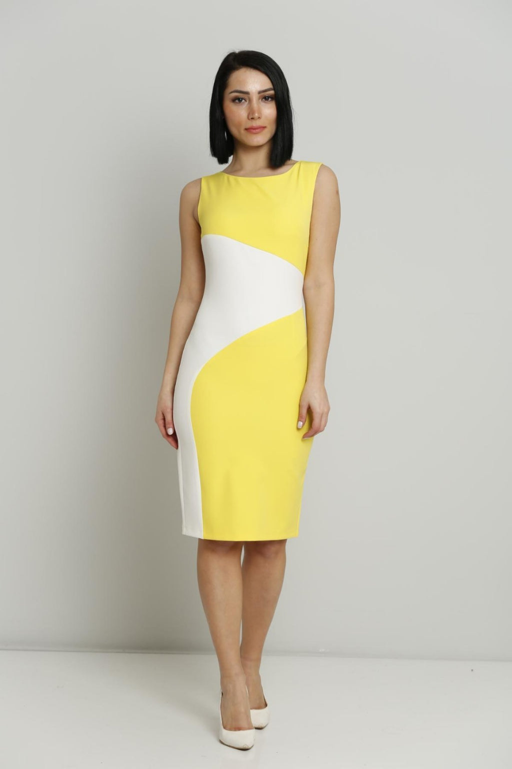 Sleeveless Midi Dress - Yellow and White