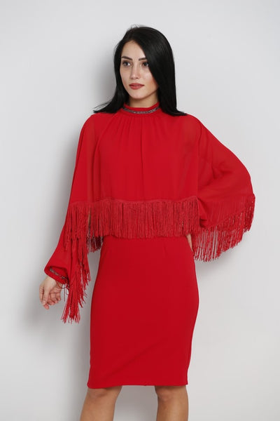 Red Knee length dress with cape