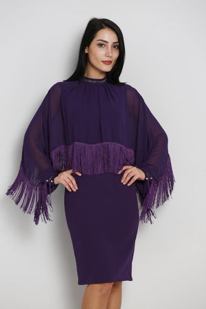 Purple Knee length dress with cape