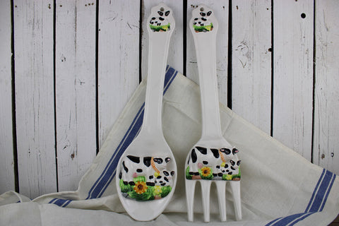 Decorative Cow Spoon and Fork