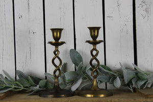 Brass Spiral Candlestick Holders (Pair)