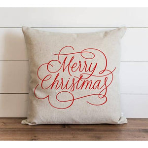 Merry Christmas Script Red Pillow Cover - Cori's Vintage Corner