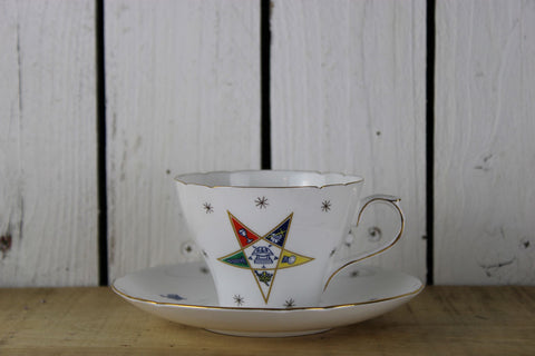 Shelley Order Of The Eastern Star Tea Cup And Saucer