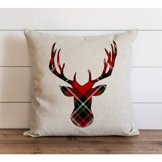 Tartan Deer Pillow Cover - Cori's Vintage Corner