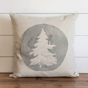 Watercolor Flocked Tree Gray Pillow Cover - Cori's Vintage Corner