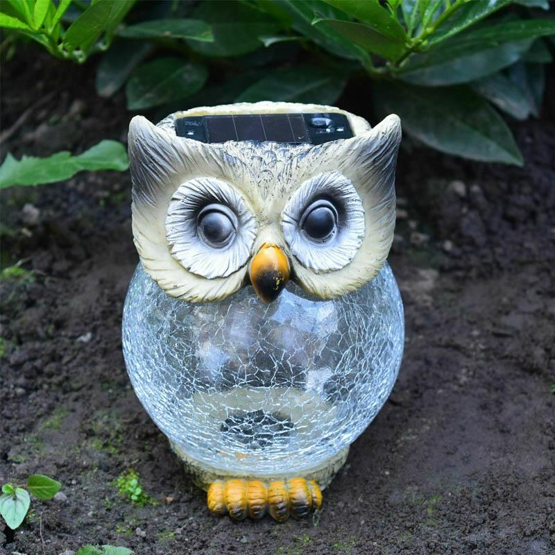 Solar Powered Owl Lawn Lamp OUTDOOR LIGHTS Smart saker WHITE