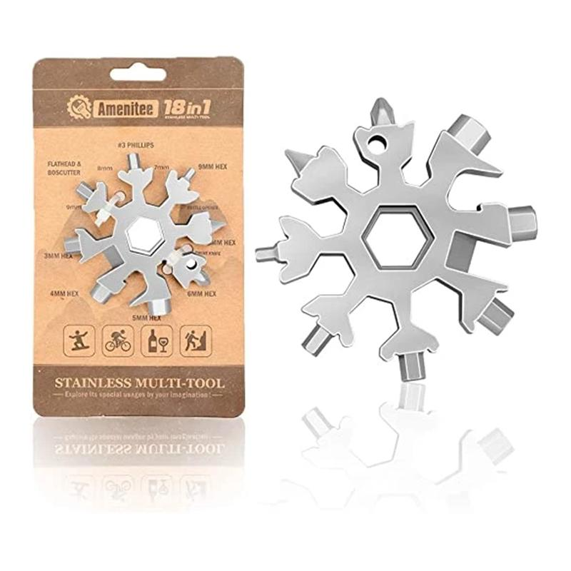 Amenitee 18-in-1 snowflakes multi-tool MULTITOOLS smartsaker Silver-Gift Packaging