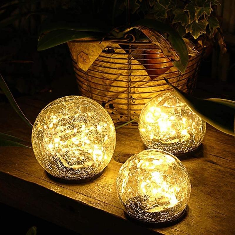 Solar LED Glass Ball Garden Lawn Lamp OUTDOOR LIGHTS Smart saker