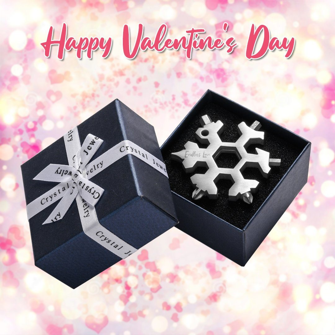 Saker ®18 in 1 Snowflake Multi-tool Valentine MULTITOOLS Smart saker 1 * silver ENDLESS LOVE