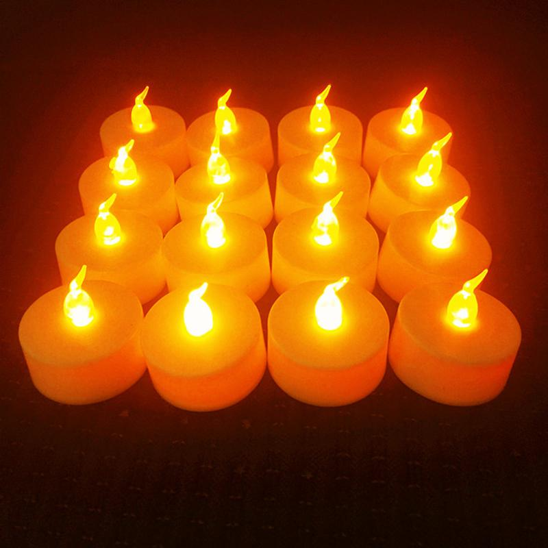 Battery Powered LED Candle Light HOME DECORATIVE LAMPS Smart saker YELLOW 12PCS