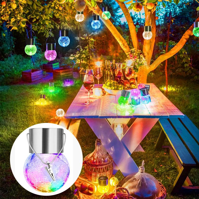 Hanging Solar Glass Ball Lights(4PCS) OUTDOOR LIGHTS Smart saker MULTICOLOR