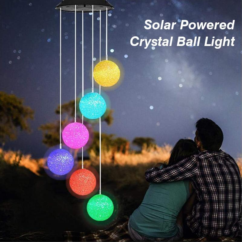 Outdoor solar particle ball wind chime lights