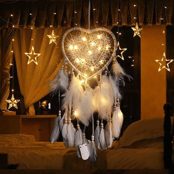 Heart Shape Dream Catcher Light-Give You A Peaceful Slumber. HOME DECORATIVE LAMPS Smart saker white