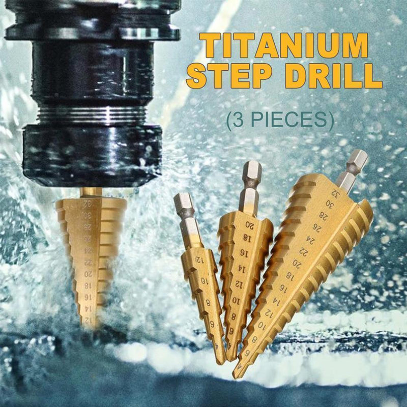 Titanium Step Drill (3 pieces) DRILLS & DRIVERS smartsaker