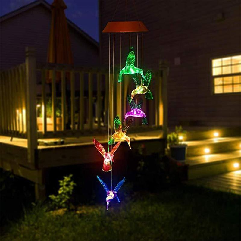 Color-Changing Solar LED Waterproof Hummingbird Wind Chimes Dangling Lights OUTDOOR LIGHTS smartsaker