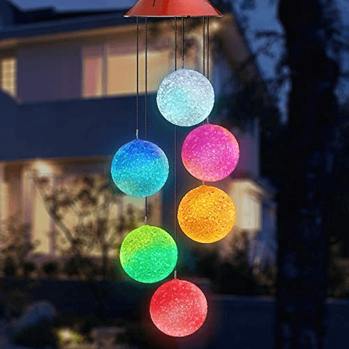 Outdoor Solar Powered Crystal Ball Light Wind Chime Lights OUTDOOR LIGHTS Smart saker