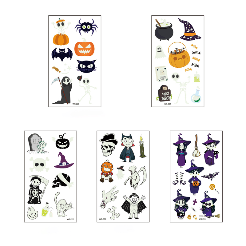 Luminous Halloween Tattoo Sticker OTHER LIFE TOOLS Smart saker Halloween Set 2
