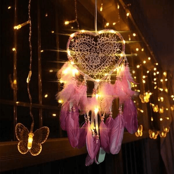 Heart Shape Dream Catcher Light-Give You A Peaceful Slumber. HOME DECORATIVE LAMPS Smart saker pink