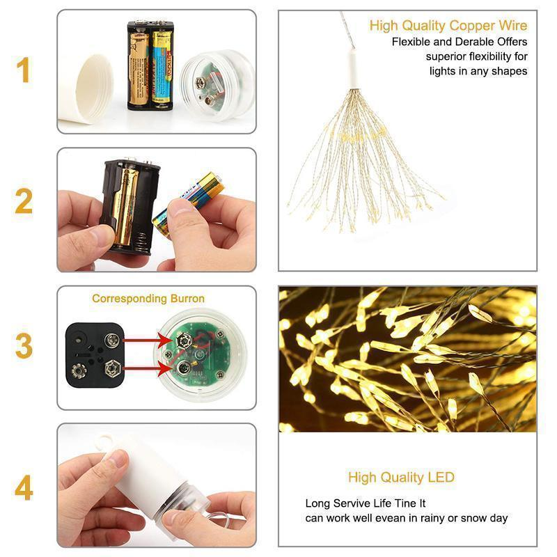 LED Copper Wire Firework Lights, 120 brilliant LED lamp beads