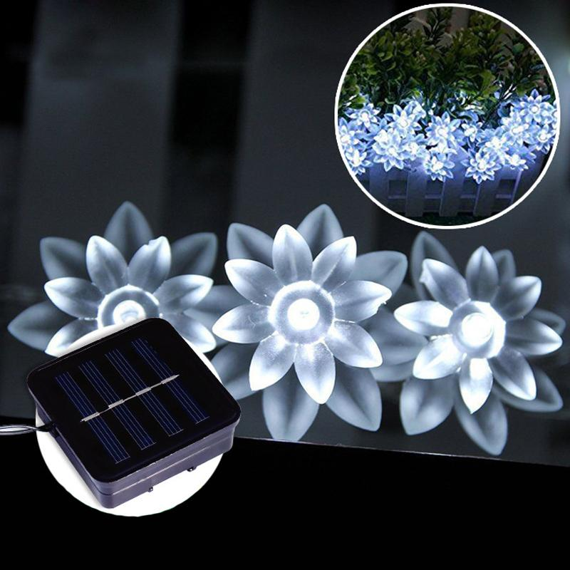 Solar-powered LED Lotus Flower String Lights for Chrismas OUTDOOR LIGHTS Smart saker