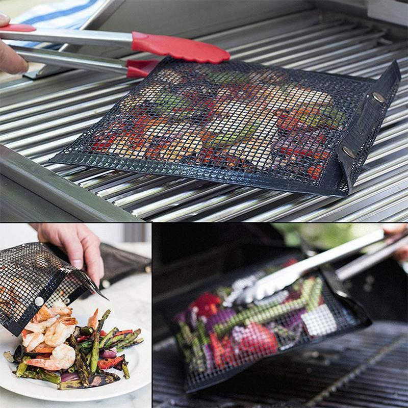 Reusable Non-Stick BBQ Mesh Grill Bags OUTDOOR BARBECUE smartsaker